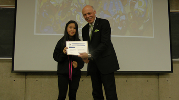 "Alyanna Puyat getting the 2014 MHSO Award for Multiculturalism for her project, ""Immigration and Citizenship""."